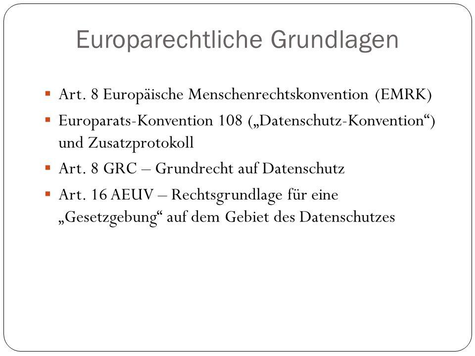 """Europarechtliche Grundlagen  Art. 8 Europäische Menschenrechtskonvention (EMRK)  Europarats-Konvention 108 (""""Datenschutz-Konvention"""") und Zusatzprot"""