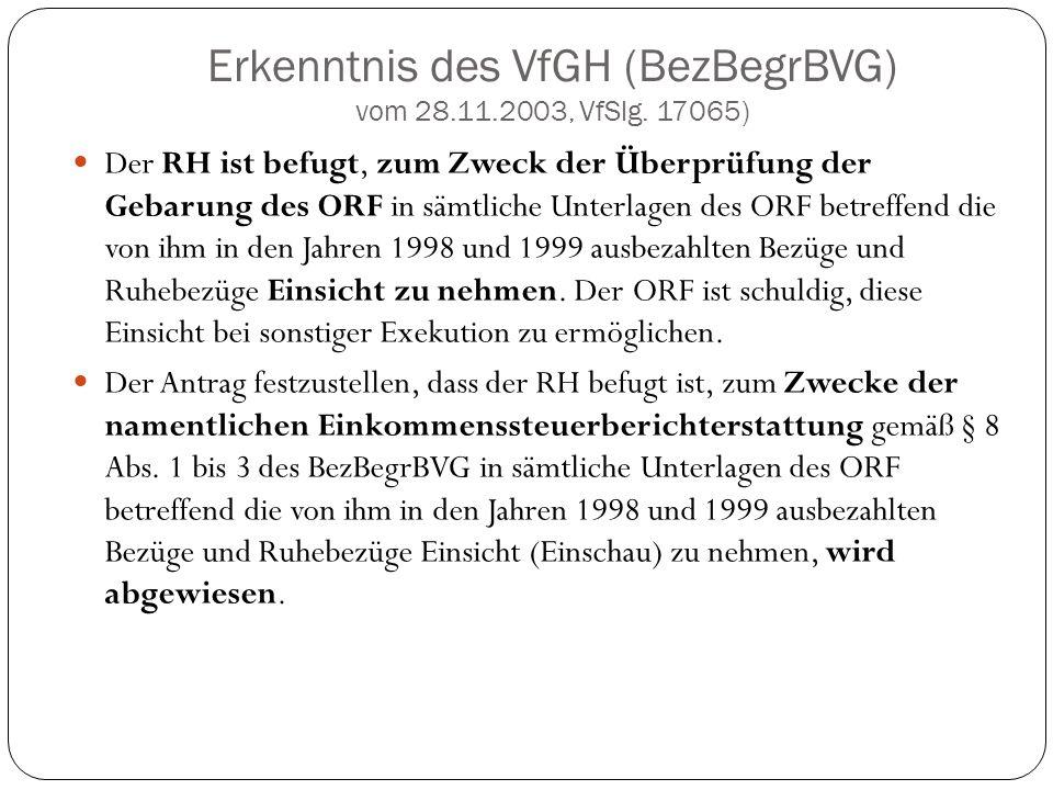 Erkenntnis des VfGH (BezBegrBVG) vom 28.11.2003, VfSlg. 17065) Der RH ist befugt, zum Zweck der Überprüfung der Gebarung des ORF in sämtliche Unterlag