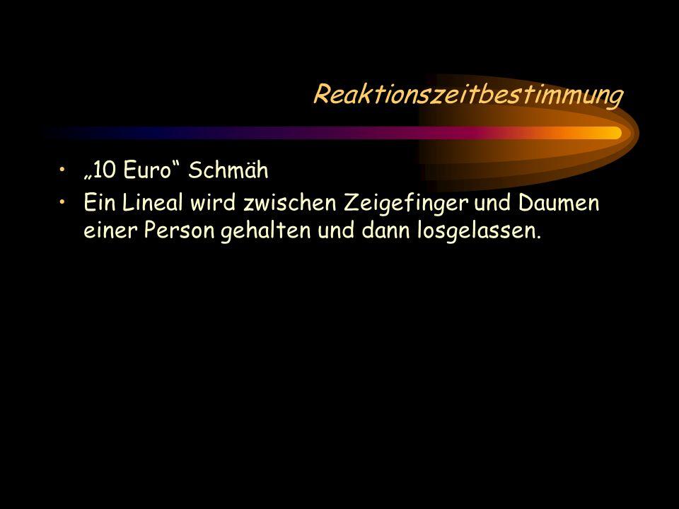 """Reaktionszeitbestimmung """"10 Euro Schmäh Ein Lineal wird zwischen Zeigefinger und Daumen einer Person gehalten und dann losgelassen."""