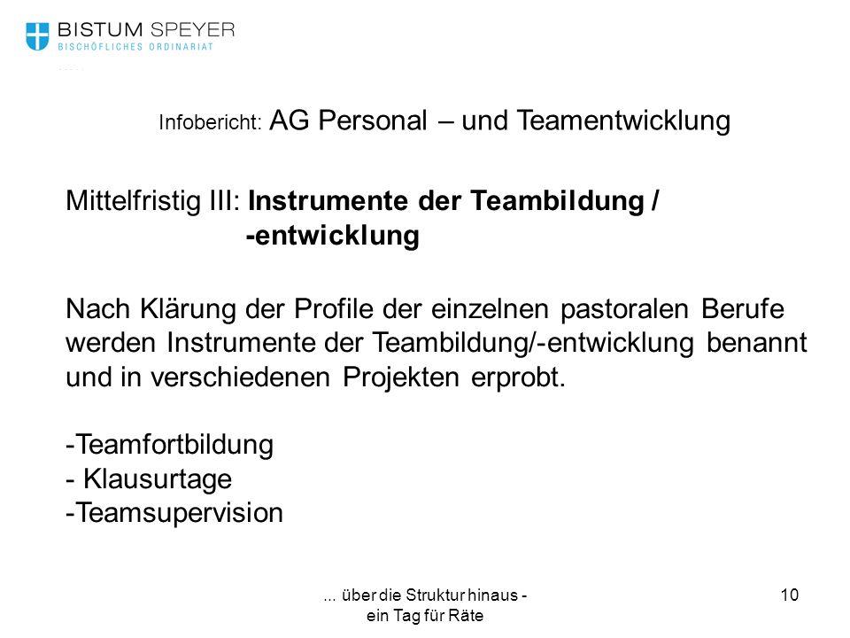 ... über die Struktur hinaus - ein Tag für Räte 10 Infobericht: AG Personal – und Teamentwicklung Mittelfristig III: Instrumente der Teambildung / -en