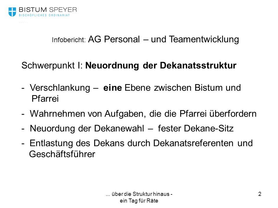 ... über die Struktur hinaus - ein Tag für Räte 2 Infobericht: AG Personal – und Teamentwicklung Schwerpunkt I: Neuordnung der Dekanatsstruktur - Vers