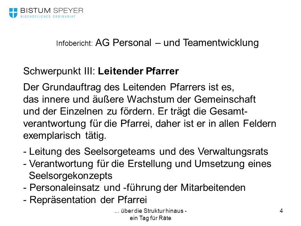 ... über die Struktur hinaus - ein Tag für Räte 4 Infobericht: AG Personal – und Teamentwicklung Schwerpunkt III: Leitender Pfarrer Der Grundauftrag d
