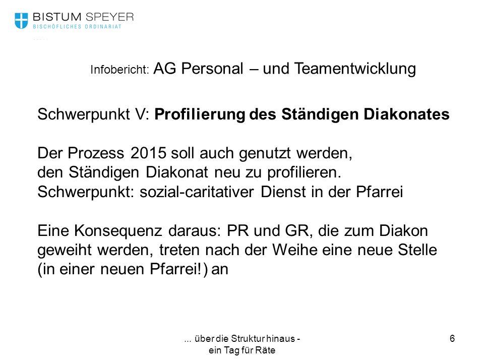 ... über die Struktur hinaus - ein Tag für Räte 6 Infobericht: AG Personal – und Teamentwicklung Schwerpunkt V: Profilierung des Ständigen Diakonates