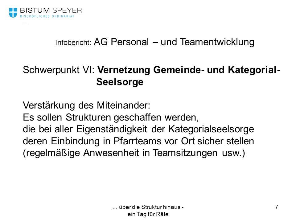 ... über die Struktur hinaus - ein Tag für Räte 7 Infobericht: AG Personal – und Teamentwicklung Schwerpunkt VI: Vernetzung Gemeinde- und Kategorial-