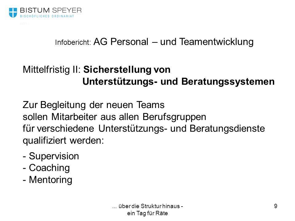 ... über die Struktur hinaus - ein Tag für Räte 9 Infobericht: AG Personal – und Teamentwicklung Mittelfristig II: Sicherstellung von Unterstützungs-