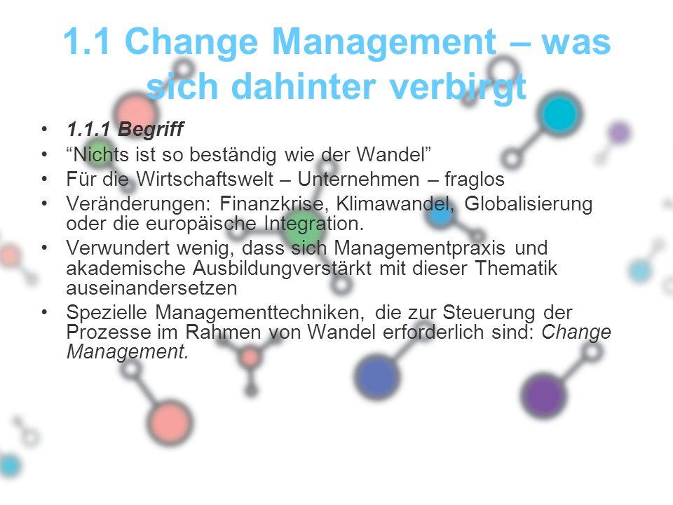 """1.1 Change Management – was sich dahinter verbirgt 1.1.1 Begriff """"Nichts ist so beständig wie der Wandel"""" Für die Wirtschaftswelt – Unternehmen – frag"""