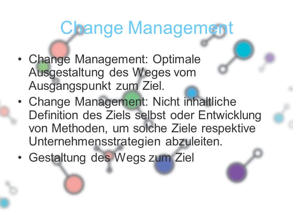 Change Management Change Management: Optimale Ausgestaltung des Weges vom Ausgangspunkt zum Ziel. Change Management: Nicht inhaltliche Definition des