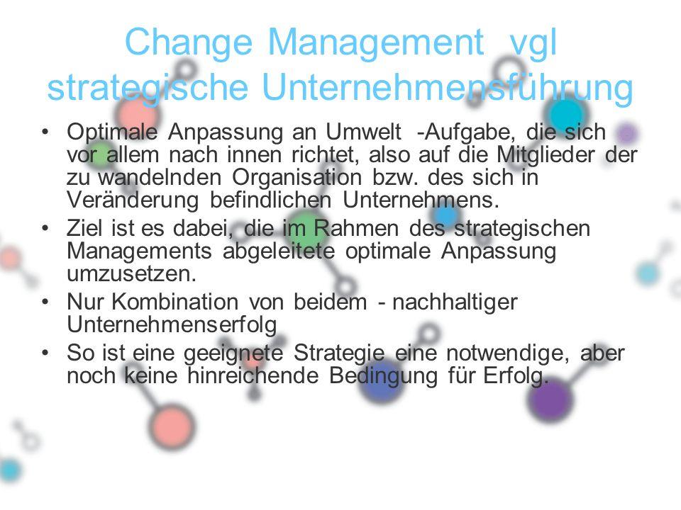 Change Management vgl strategische Unternehmensführung Optimale Anpassung an Umwelt -Aufgabe, die sich vor allem nach innen richtet, also auf die Mitg
