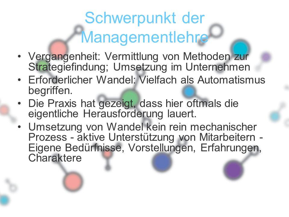 Schwerpunkt der Managementlehre Vergangenheit: Vermittlung von Methoden zur Strategiefindung; Umsetzung im Unternehmen Erforderlicher Wandel: Vielfach