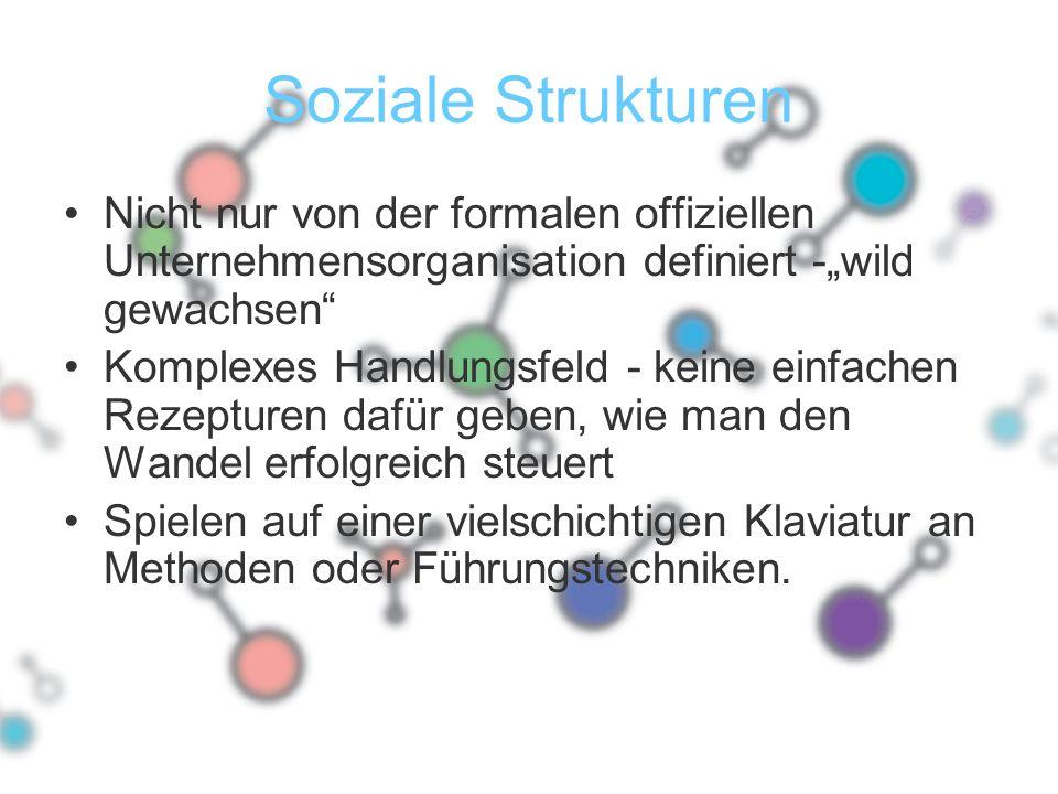 """Soziale Strukturen Nicht nur von der formalen offiziellen Unternehmensorganisation definiert -""""wild gewachsen"""" Komplexes Handlungsfeld - keine einfach"""