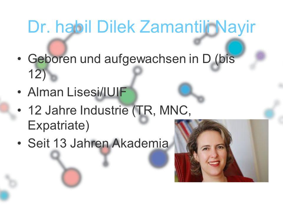 Dr. habil Dilek Zamantili Nayir Geboren und aufgewachsen in D (bis 12) Alman Lisesi/IUIF 12 Jahre Industrie (TR, MNC, Expatriate) Seit 13 Jahren Akade