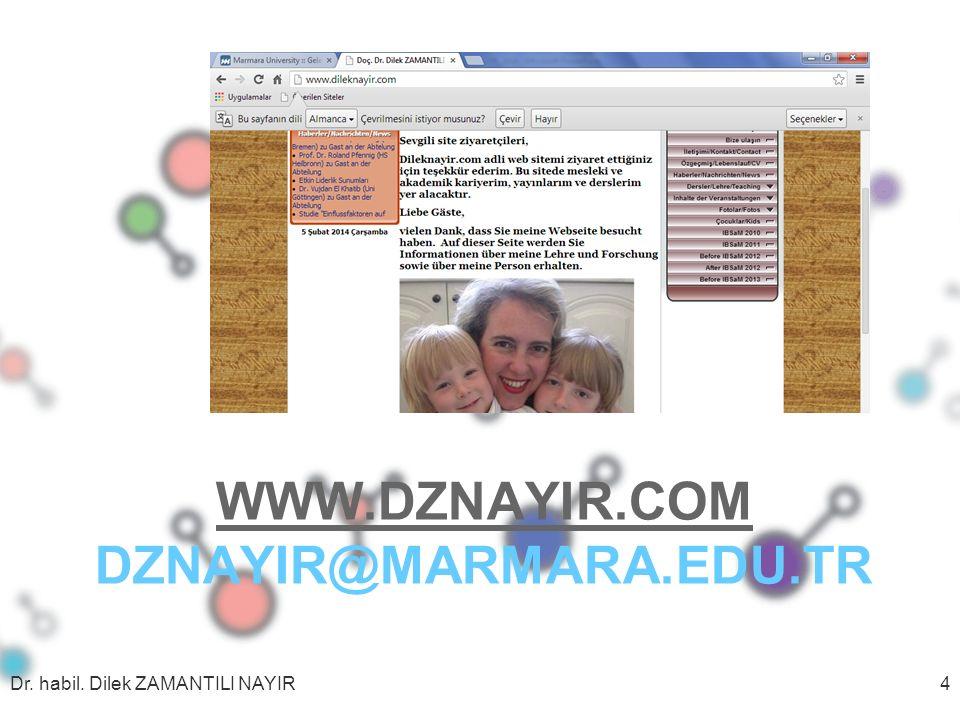 WWW.DZNAYIR.COM WWW.DZNAYIR.COM DZNAYIR@MARMARA.EDU.TR Dr. habil. Dilek ZAMANTILI NAYIR4