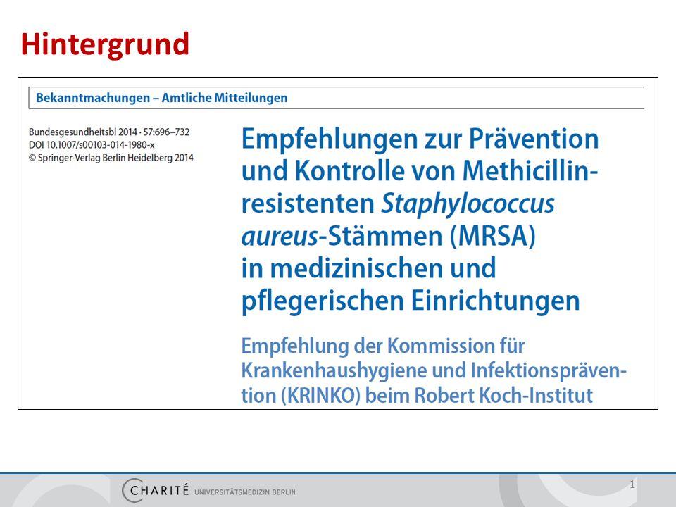 Maßnahmebündel zur Kontrolle von MRSA im Krankenhaus Allgemeine Maßnahmen Räumliche Unterbringung Barrieremaßnahmen Desinfektion Aufnahmescreening Patiententransport 12