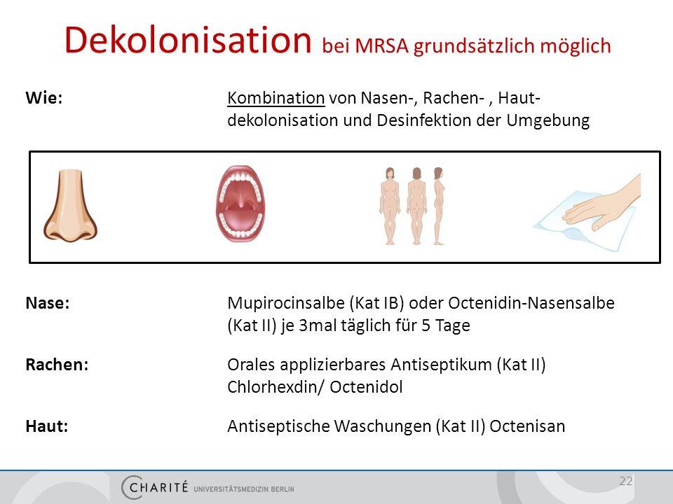 Wie: Kombination von Nasen-, Rachen-, Haut- dekolonisation und Desinfektion der Umgebung Nase: Mupirocinsalbe (Kat IB) oder Octenidin-Nasensalbe (Kat