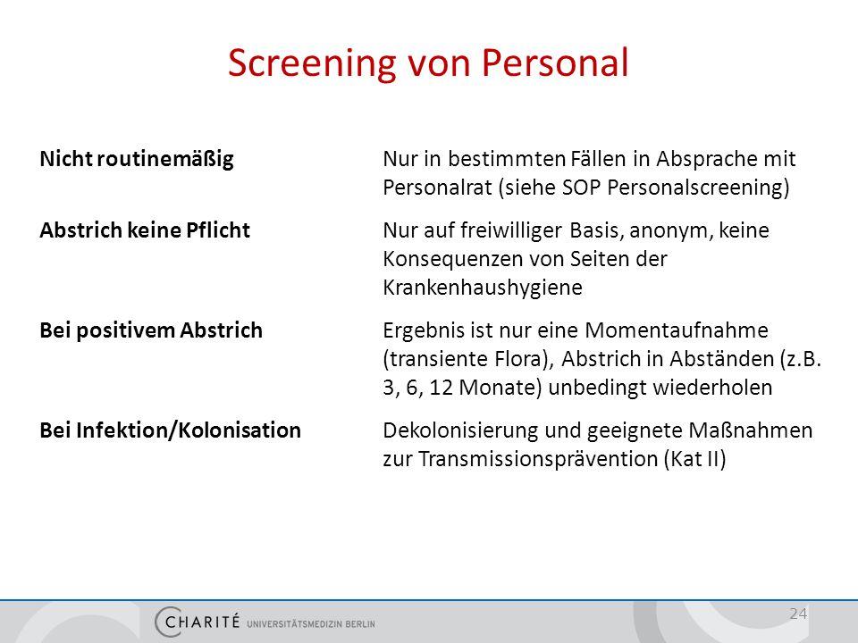 Screening von Personal Nicht routinemäßigNur in bestimmten Fällen in Absprache mit Personalrat (siehe SOP Personalscreening) Abstrich keine PflichtNur