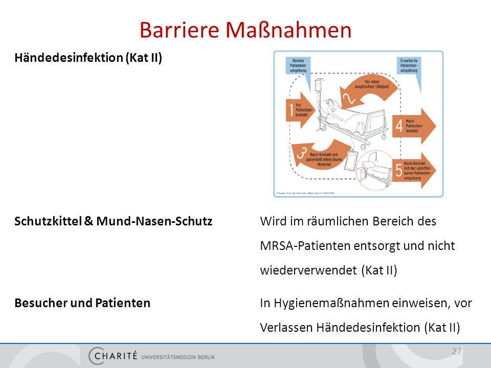 Barriere Maßnahmen Händedesinfektion (Kat II) Schutzkittel & Mund-Nasen-SchutzWird im räumlichen Bereich des MRSA-Patienten entsorgt und nicht wiederv