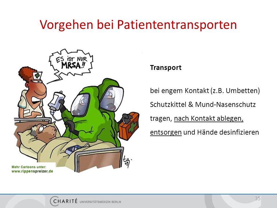 Vorgehen bei Patiententransporten Transport bei engem Kontakt (z.B. Umbetten) Schutzkittel & Mund-Nasenschutz tragen, nach Kontakt ablegen, entsorgen