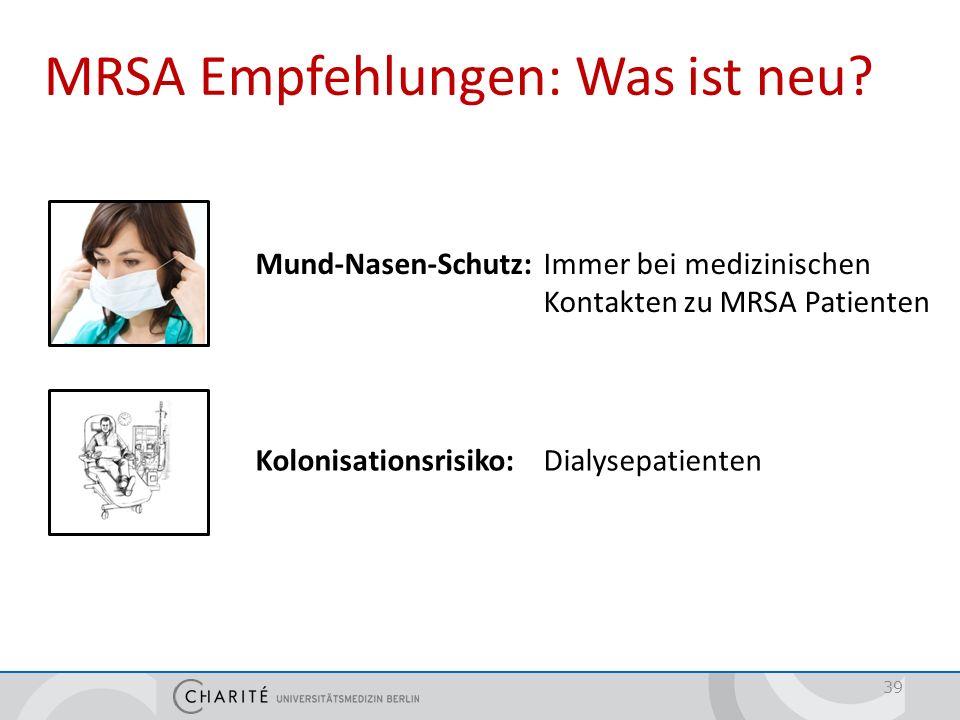 39 MRSA Empfehlungen: Was ist neu? Mund-Nasen-Schutz: Immer bei medizinischen Kontakten zu MRSA Patienten Kolonisationsrisiko: Dialysepatienten