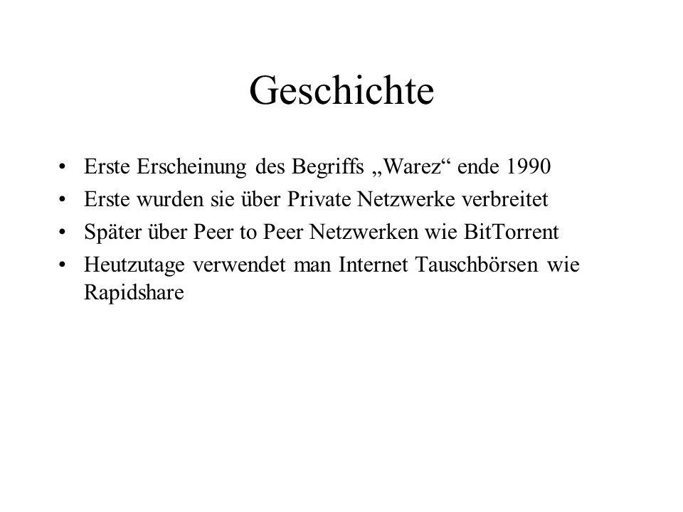 """Geschichte Erste Erscheinung des Begriffs """"Warez"""" ende 1990 Erste wurden sie über Private Netzwerke verbreitet Später über Peer to Peer Netzwerken wie"""