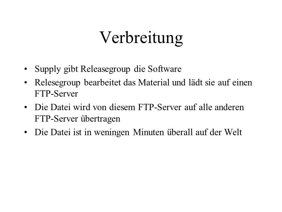 Verbreitung Supply gibt Releasegroup die Software Relesegroup bearbeitet das Material und lädt sie auf einen FTP-Server Die Datei wird von diesem FTP-