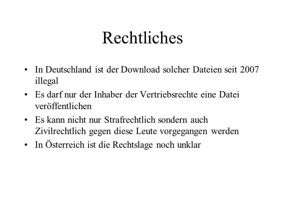 Rechtliches In Deutschland ist der Download solcher Dateien seit 2007 illegal Es darf nur der Inhaber der Vertriebsrechte eine Datei veröffentlichen E
