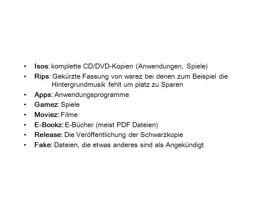 Isos: komplette CD/DVD-Kopien (Anwendungen, Spiele) Rips: Gekürzte Fassung von warez bei denen zum Beispiel die Hintergrundmusik fehlt um platz zu Spa