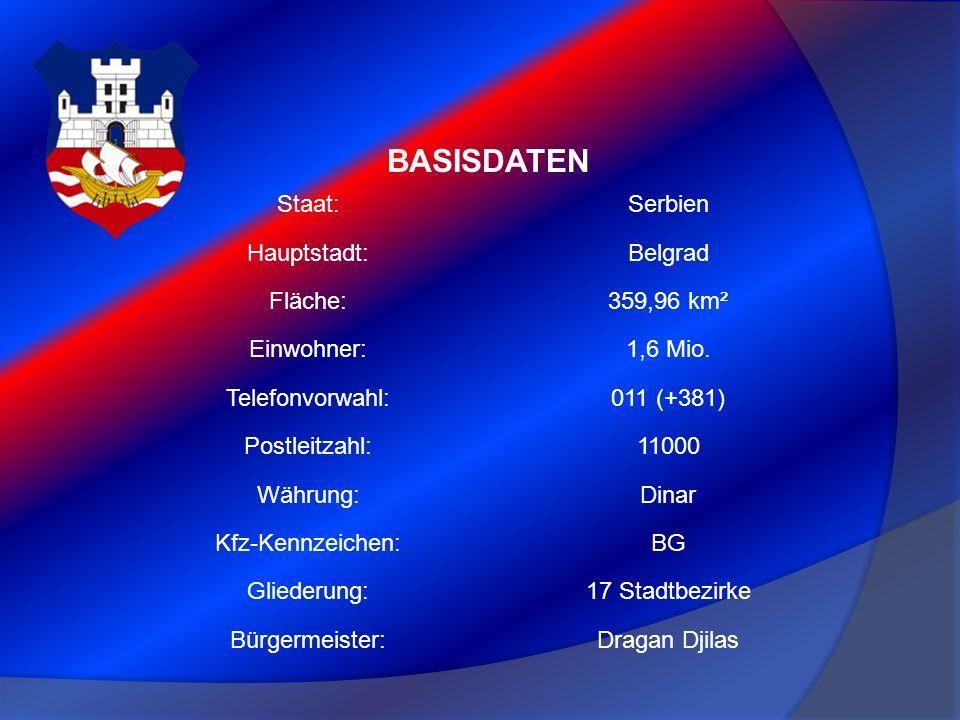 BASISDATEN Staat:Serbien Hauptstadt:Belgrad Fläche:359,96 km² Einwohner:1,6 Mio. Telefonvorwahl:011 (+381) Postleitzahl:11000 Währung:Dinar Kfz-Kennze