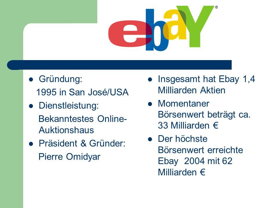 Gründung: 1995 in San José/USA Dienstleistung: Bekanntestes Online- Auktionshaus Präsident & Gründer: Pierre Omidyar Insgesamt hat Ebay 1,4 Milliarden
