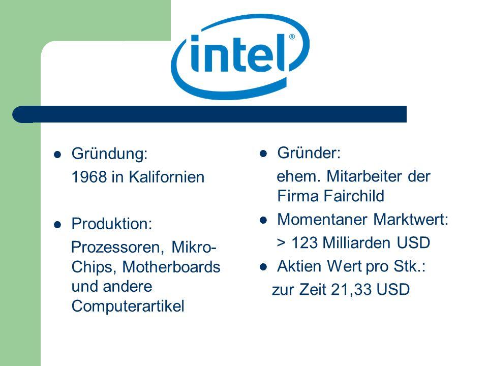 Gründung: 1968 in Kalifornien Produktion: Prozessoren, Mikro- Chips, Motherboards und andere Computerartikel Gründer: ehem. Mitarbeiter der Firma Fair