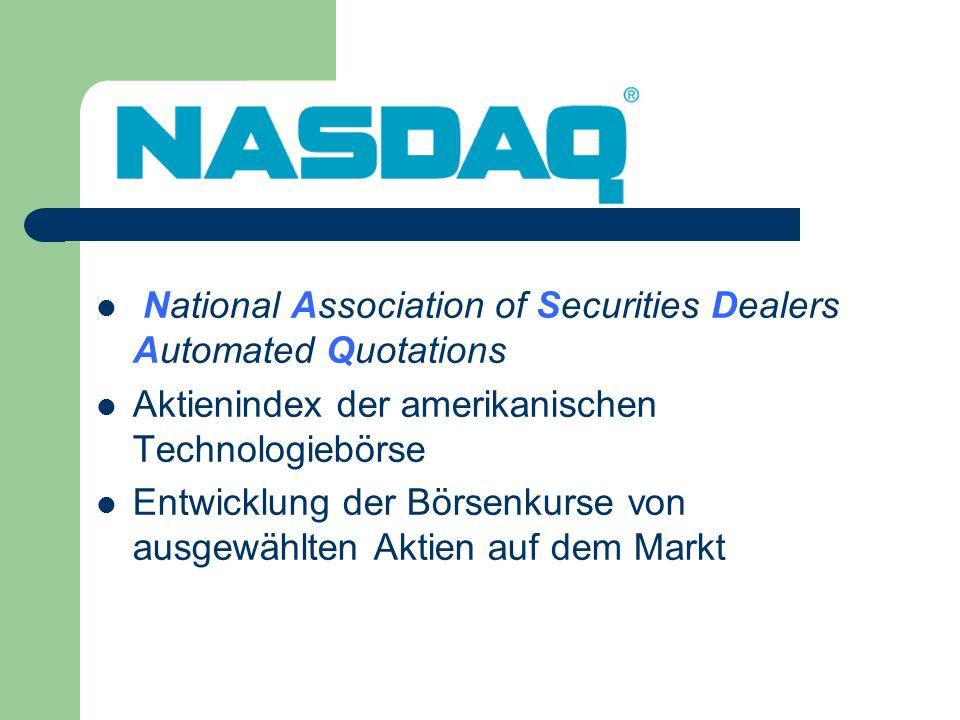 National Association of Securities Dealers Automated Quotations Aktienindex der amerikanischen Technologiebörse Entwicklung der Börsenkurse von ausgew