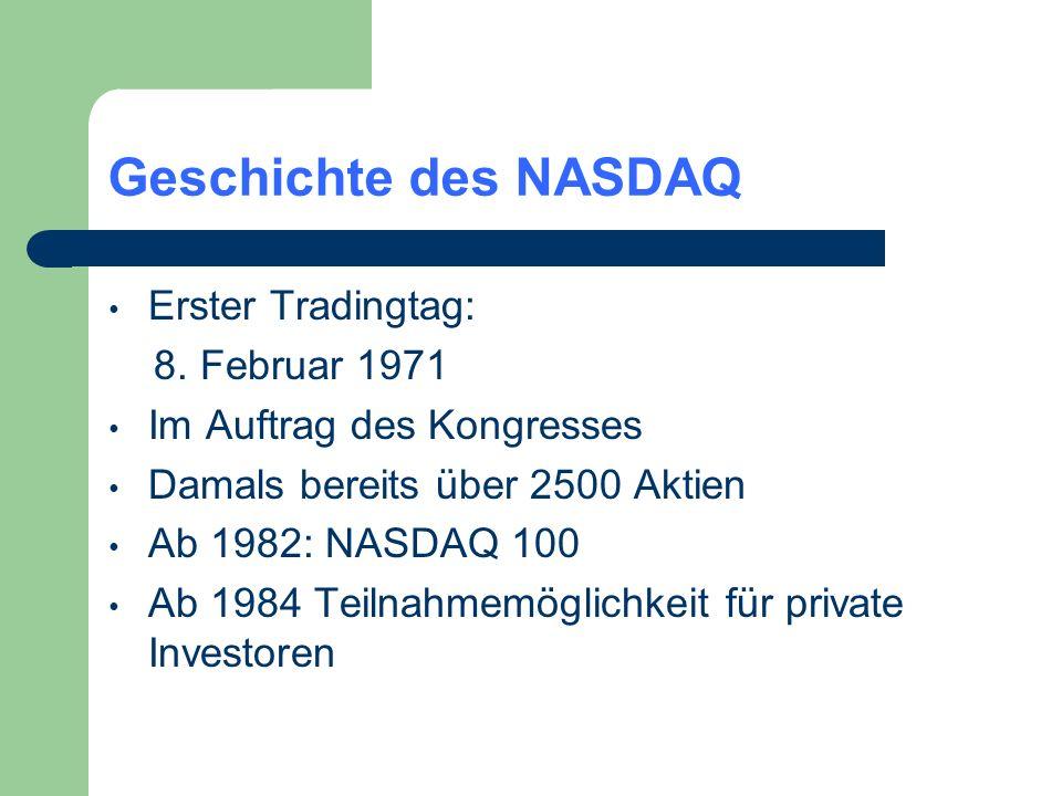 Geschichte des NASDAQ Erster Tradingtag: 8. Februar 1971 Im Auftrag des Kongresses Damals bereits über 2500 Aktien Ab 1982: NASDAQ 100 Ab 1984 Teilnah