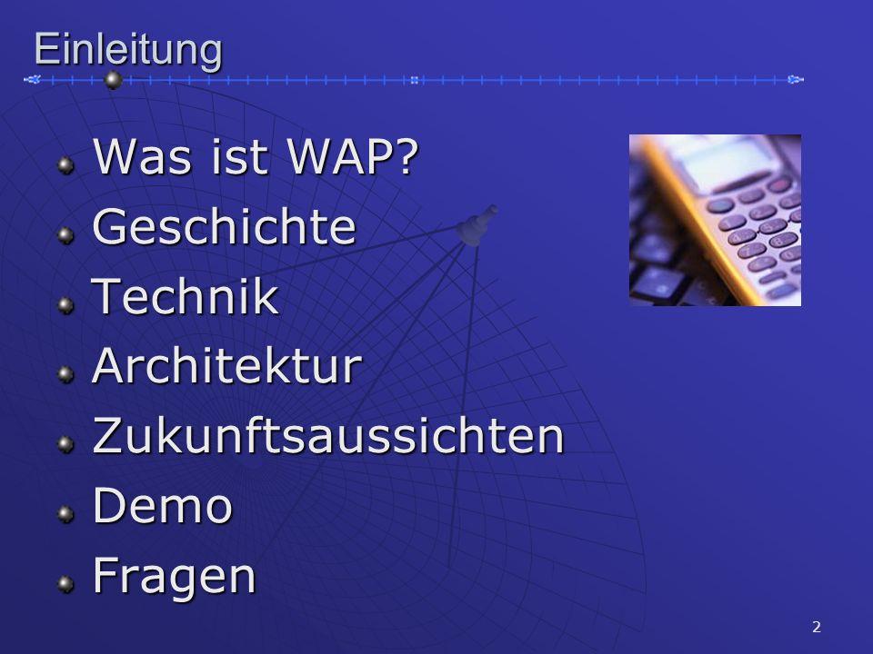 2Einleitung Was ist WAP? Was ist WAP? Geschichte Geschichte Technik Technik Architektur Architektur Zukunftsaussichten Zukunftsaussichten Demo Demo Fr
