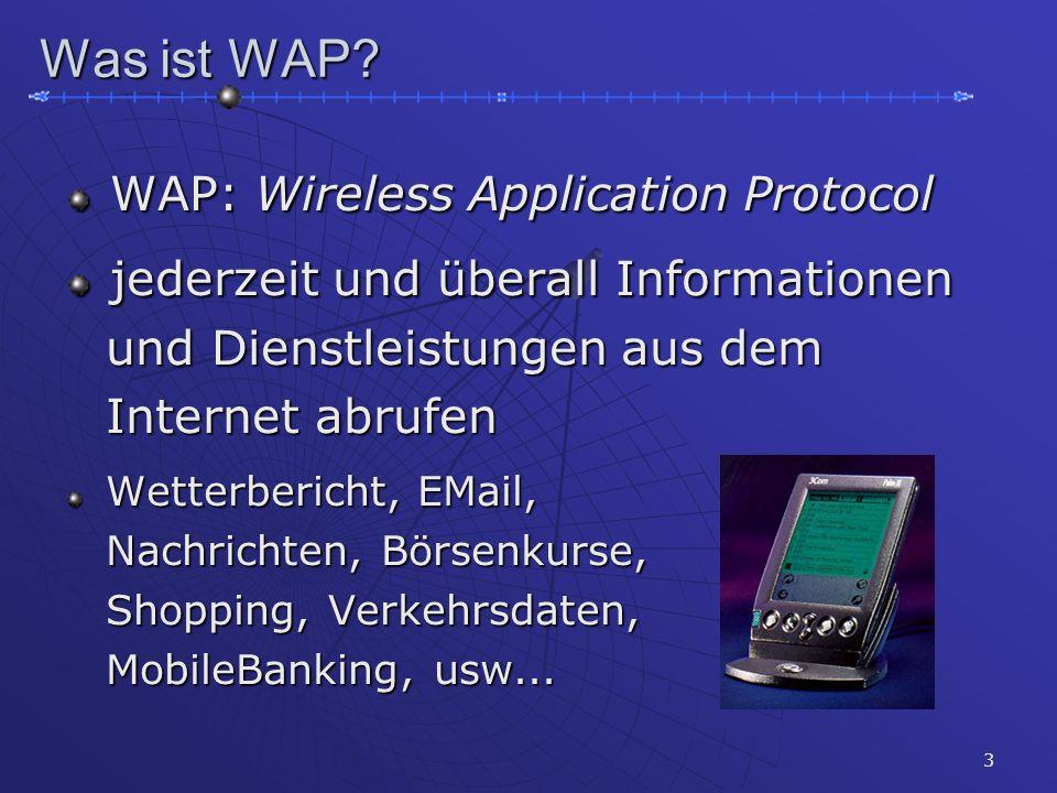 3 Was ist WAP? WAP: Wireless Application Protocol WAP: Wireless Application Protocol jederzeit und überall Informationen jederzeit und überall Informa