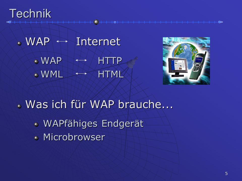 5Technik WAP Internet WAP Internet WAPHTTP WAPHTTP WMLHTML WMLHTML Was ich für WAP brauche... Was ich für WAP brauche... WAP  fähiges Endgerät WAP 