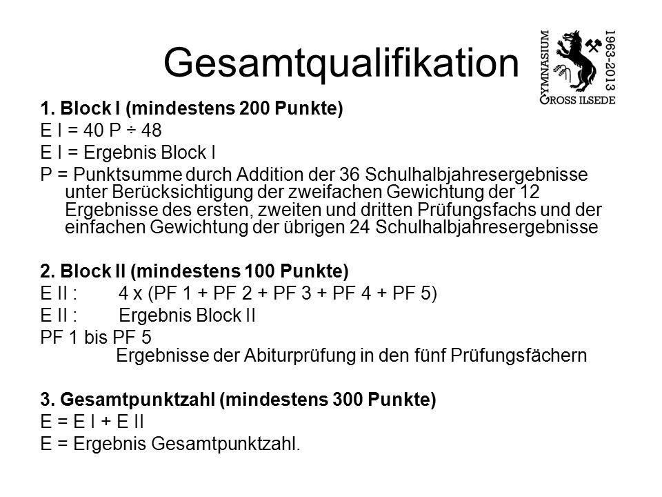Gesamtqualifikation 1. Block I (mindestens 200 Punkte) E I = 40 P ÷ 48 E I = Ergebnis Block I P = Punktsumme durch Addition der 36 Schulhalbjahreserge