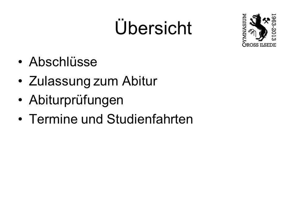 Übersicht Abschlüsse Zulassung zum Abitur Abiturprüfungen Termine und Studienfahrten