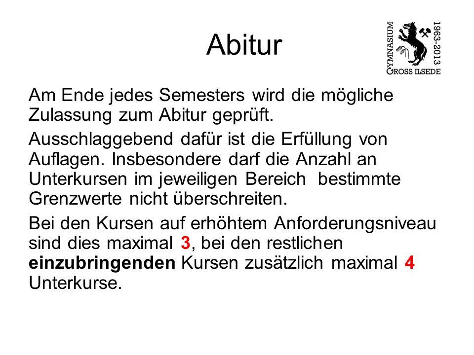 Abitur Am Ende jedes Semesters wird die mögliche Zulassung zum Abitur geprüft.