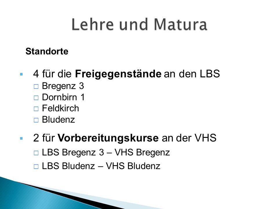 Standorte  4 für die Freigegenstände an den LBS  Bregenz 3  Dornbirn 1  Feldkirch  Bludenz  2 für Vorbereitungskurse an der VHS  LBS Bregenz 3 – VHS Bregenz  LBS Bludenz – VHS Bludenz