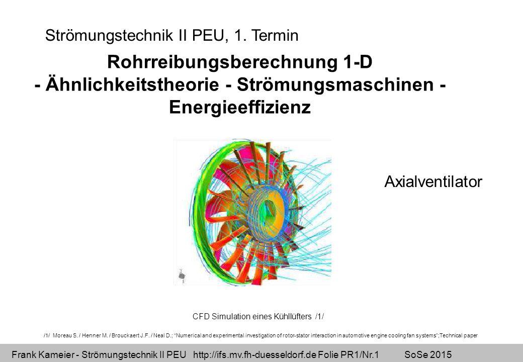 Frank Kameier - Strömungstechnik II PEU http://ifs.mv.fh-duesseldorf.de Folie PR1/Nr.2 SoSe 2015 1-dimensionale Stromfadentheorie - Excelübung Bernoulli´sche Gleichung mit Verlusten Excel mit Namen Iteration unter Excel Ausfüllen eines Lückentexts