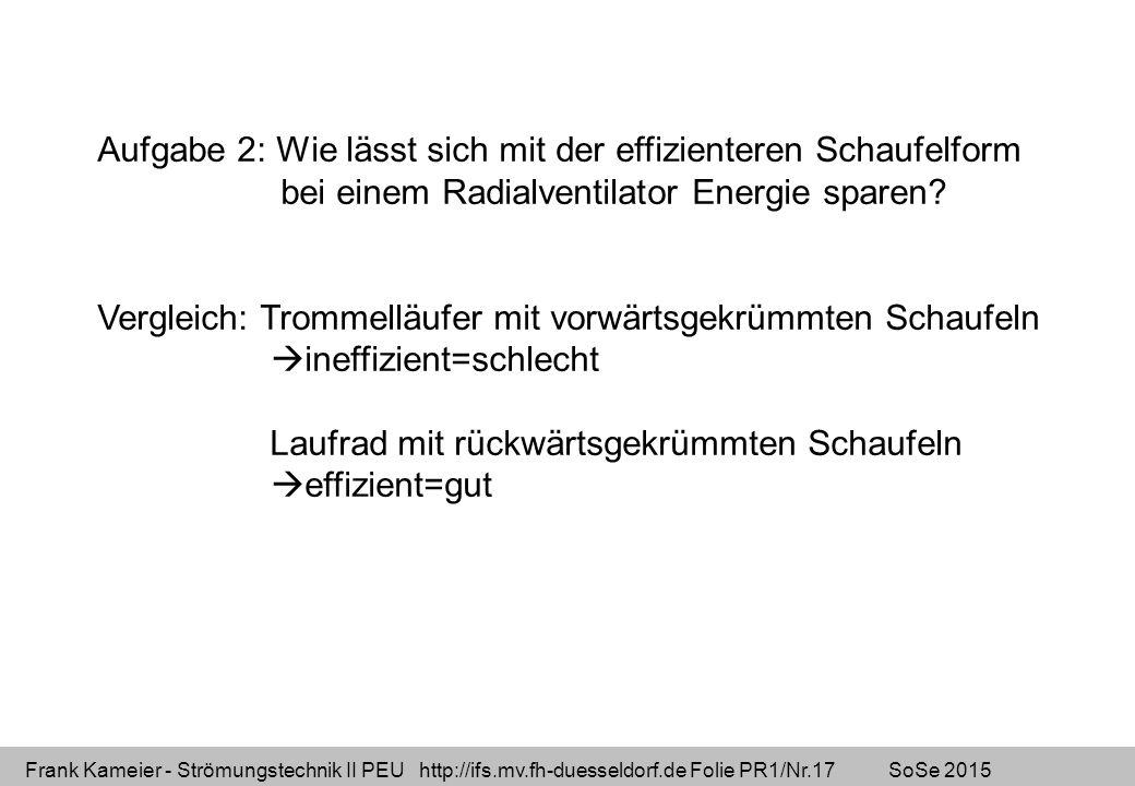 Frank Kameier - Strömungstechnik II PEU http://ifs.mv.fh-duesseldorf.de Folie PR1/Nr.17 SoSe 2015 Aufgabe 2: Wie lässt sich mit der effizienteren Scha