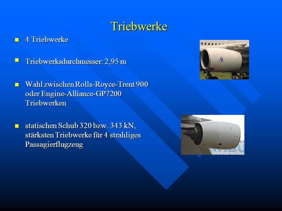 Triebwerke 4 Triebwerke 4 Triebwerke Triebwerksdurchmesser: 2,95 m Triebwerksdurchmesser: 2,95 m Wahl zwischen Rolls-Royce-Trent 900 oder Engine-Allia