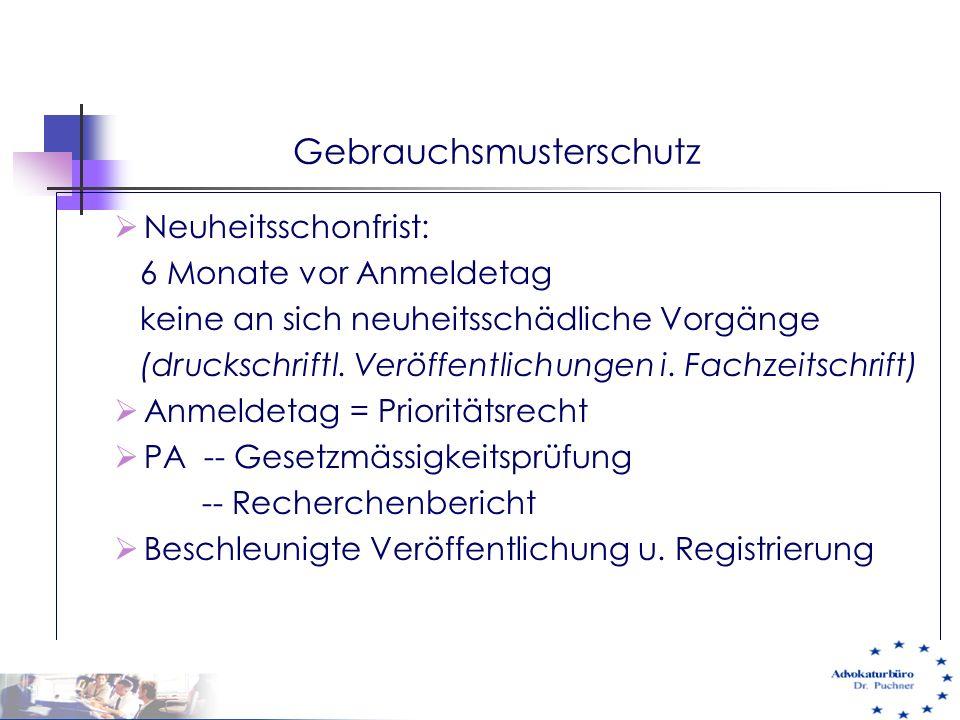 Gebrauchsmusterschutz  Neuheitsschonfrist: 6 Monate vor Anmeldetag keine an sich neuheitsschädliche Vorgänge (druckschriftl. Veröffentlichungen i. Fa