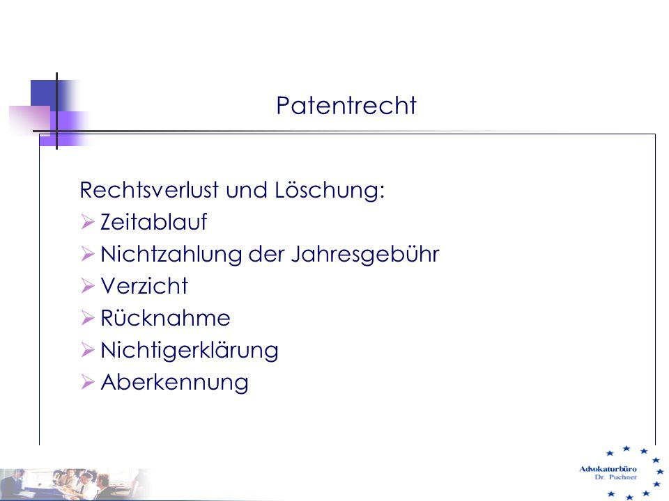 Patentrecht Rechtsverlust und Löschung:  Zeitablauf  Nichtzahlung der Jahresgebühr  Verzicht  Rücknahme  Nichtigerklärung  Aberkennung 29.05.01