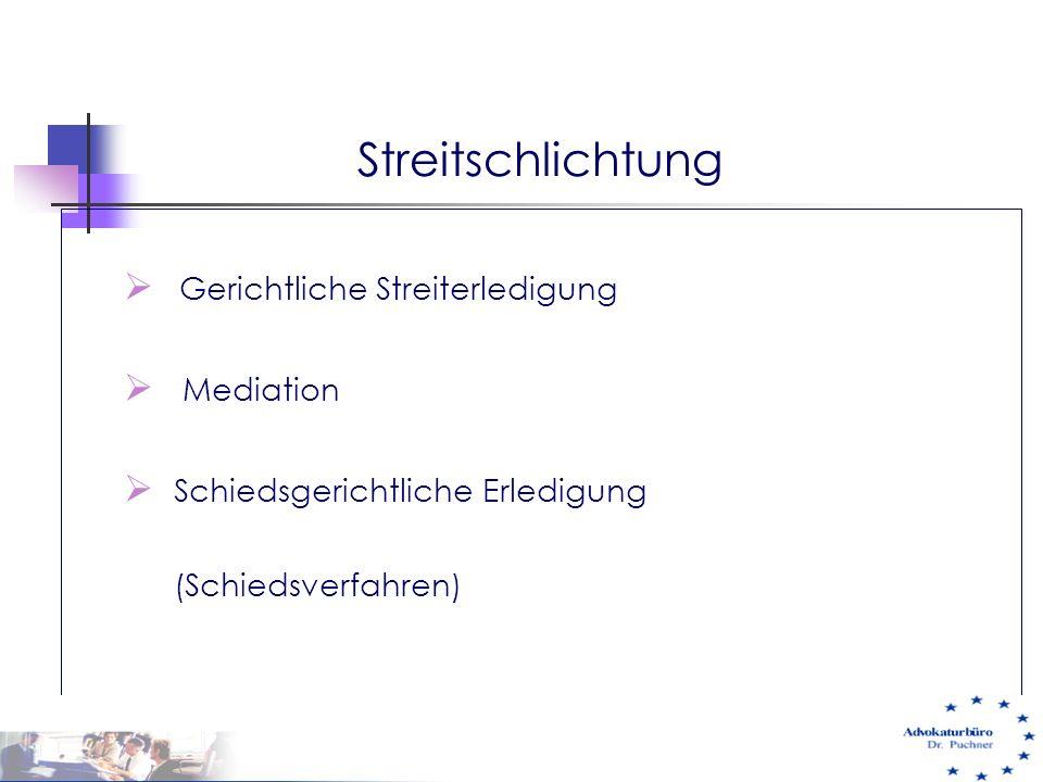  Gerichtliche Streiterledigung  Mediation  Schiedsgerichtliche Erledigung (Schiedsverfahren) 29.05.01 e-commerce