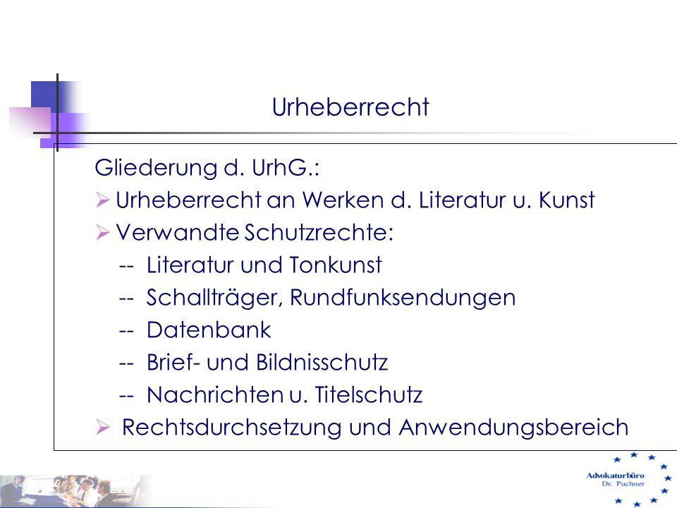 Urheberrecht Gliederung d. UrhG.:  Urheberrecht an Werken d. Literatur u. Kunst  Verwandte Schutzrechte: -- Literatur und Tonkunst -- Schallträger,
