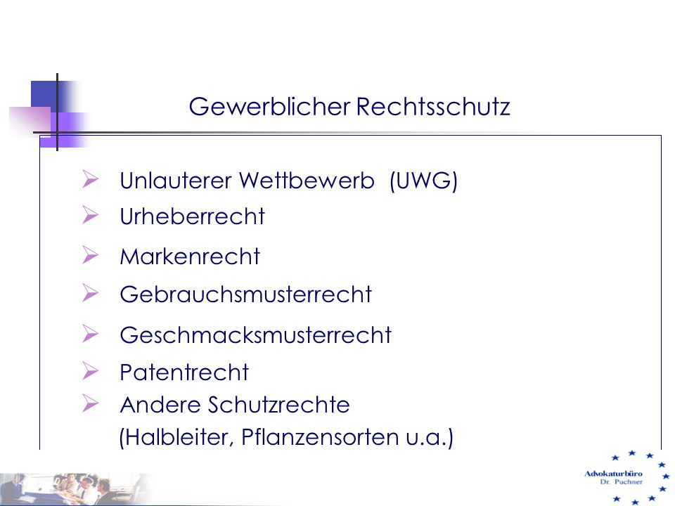  Unlauterer Wettbewerb (UWG)  Urheberrecht  Markenrecht  Gebrauchsmusterrecht  Geschmacksmusterrecht  Patentrecht  Andere Schutzrechte (Halblei