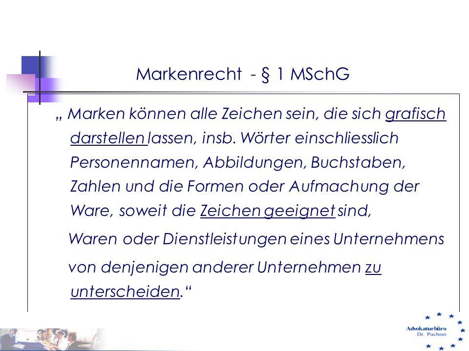 """Markenrecht - § 1 MSchG """" Marken können alle Zeichen sein, die sich grafisch darstellen lassen, insb. Wörter einschliesslich Personennamen, Abbildunge"""