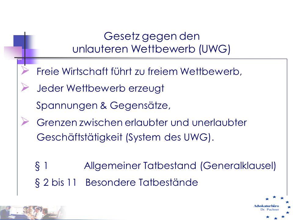 Gesetz gegen den unlauteren Wettbewerb (UWG) 3  Freie Wirtschaft führt zu freiem Wettbewerb,  Jeder Wettbewerb erzeugt Spannungen & Gegensätze,  Gr