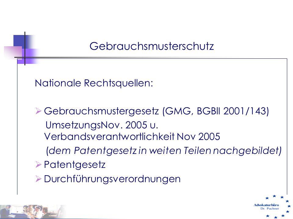 Gebrauchsmusterschutz Nationale Rechtsquellen:  Gebrauchsmustergesetz (GMG, BGBlI 2001/143) UmsetzungsNov. 2005 u. Verbandsverantwortlichkeit Nov 200