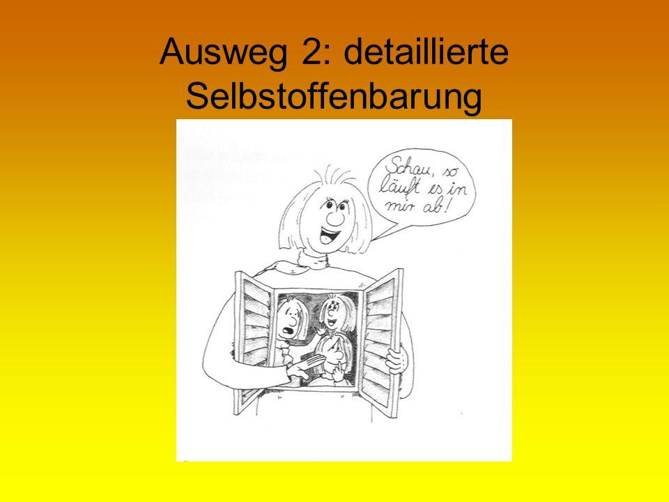 Ausweg 2: detaillierte Selbstoffenbarung